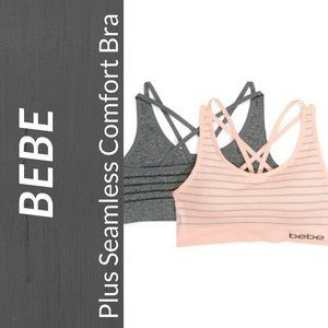 NWT bebe Plus 2PK Stripe Seamless Comfort Bra